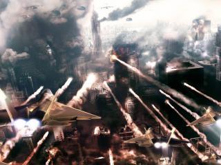 обои Бомбардировка города фото