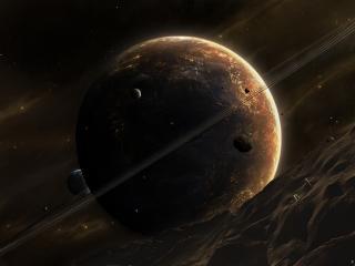 обои Планета со спутником в галлактике фото