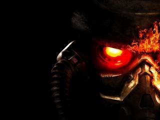 обои Огненные глаза робота фото