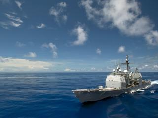 обои Военный крейсер в водах фото