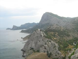 обои Панорамный вид крымских скал и моря фото