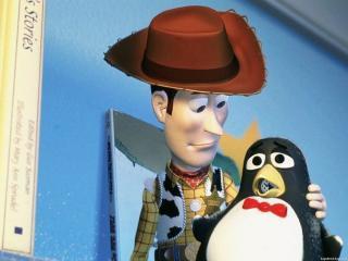 обои История игрушек ковбой с пингвином фото