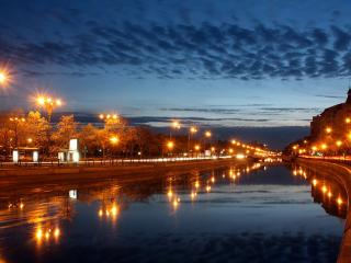 обои Городские фонари на рассвете фото