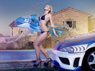 обои Девушка,   машина и бассейн фото