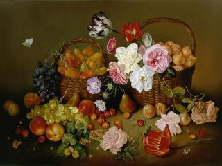 обои Фруктово-цветочный натюрморт фото