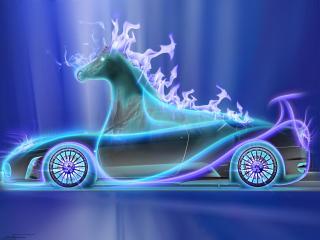 обои Авто конь голубой фото
