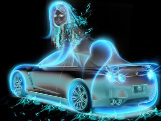 обои Голубая авто девушка фото