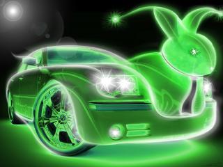 обои Зеленое авто заяц фото