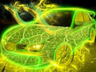 обои Зелено-желтое авто змей фото