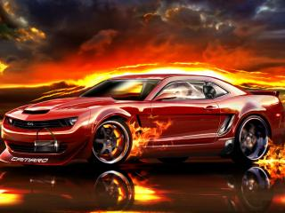 обои Красный автомобиль и огонь фото