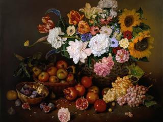 обои Цветочно-фруктовый натюрморт фото