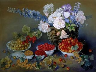 обои Цветочно-ягодный натюрморт фото