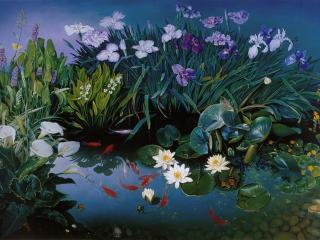 обои Золотые рыбки и цветы фото