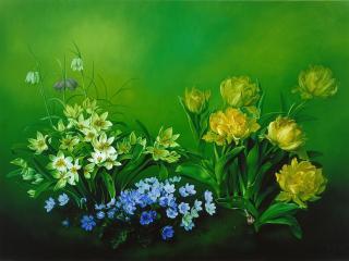 обои Жёлтые и синие цветы фото