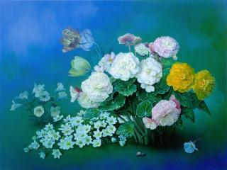 обои Летние цветы и улитка фото