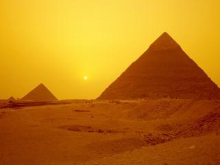 обои Среди пирамид,   закат фото