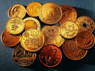 обои Собрание монет разных стран фото