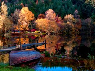 обои Королева - осень,   невероятно красивый пейзаж у пруда фото