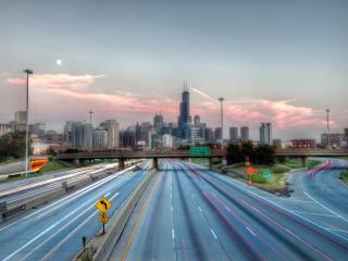 обои Городские шоссе на закате фото