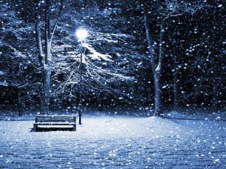 обои Крупные хлопья снега,   фонарь,   ночь,   романтика фото