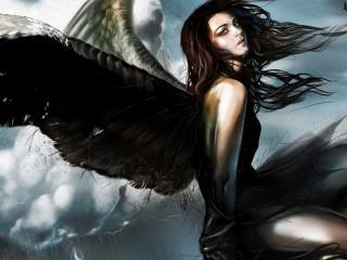 обои Падший ангел в грозовом небе фото