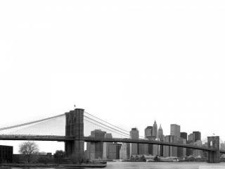 обои для рабочего стола: Процветающий город,   мост,   черно-белое фото