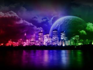 обои Цветной ночной город и планеты в 3D фото