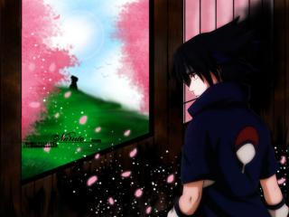 обои для рабочего стола: Naruto смотрит в окно