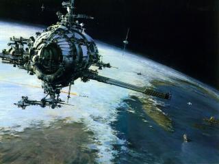 обои Космическая установка над землей фото