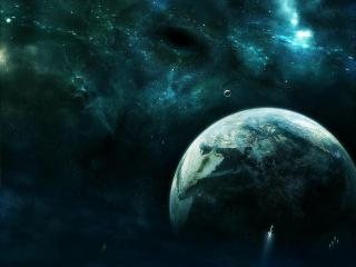 обои Планета и космические дыры фото