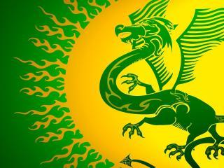 обои Рисунок дракона зеленого фото