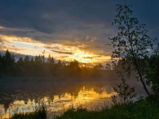 обои Весенний пруд на закате фото