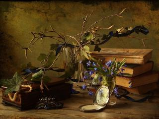 обои Книги,   шкатулка и виноградная лоза фото