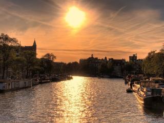 обои Нидерланды,   Амстердам,   город на закате фото