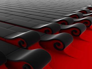 обои Черно-красные завитки фото