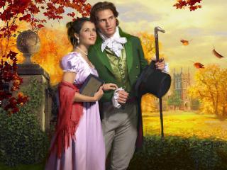 обои Красивая влюбленная пара в осеннем парке фото