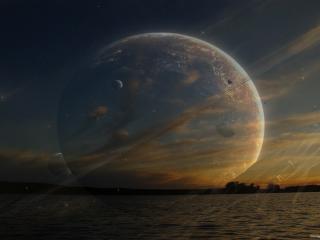 обои Космос на фоне моря фото