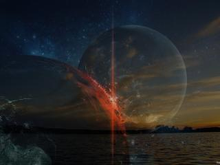 обои Две планеты на фоне неба фото