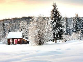 обои Дачный домик в снежном лесу,   закат фото