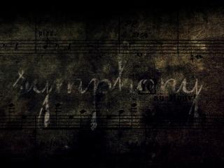 обои Надпись и ноты на стене фото