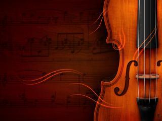 обои Деревянная скрипка,   ноты фото