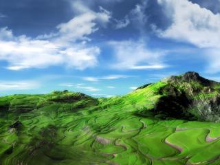 обои ЗD просторы и холмы фото