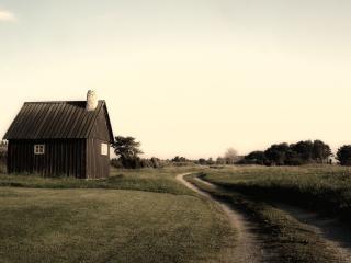 обои Маленький дачный домик у тропы в поле фото