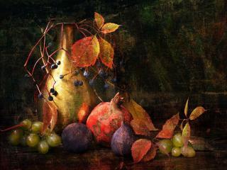 обои Картина с фруктами фото