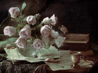 обои Розы и ноты фото