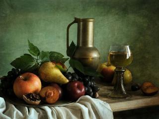 обои Натюрморт - Вино и фрукты фото