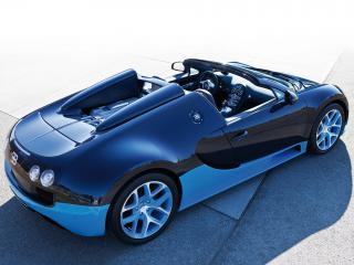 обои Bugatti Veyron Grand Sport Roadster Vitesse 2012 синий фото