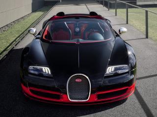 обои Bugatti Veyron Grand Sport Roadster Vitesse 2012 черный фото