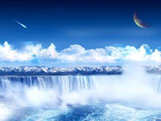 обои Горы и водопады в 3D фото