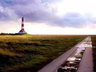 обои Дорожки,   поле,   маяк фото